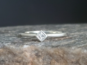 Sterling Silver Diamond Ring classic solitaire ring, engagement ring, alternative ring, Princess Square, stacking ring, 3mm diamond