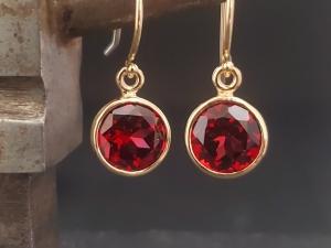 Garnet 14k yellow gold bezel drop earrings 8mm, January birthstone, round drop ear wire earrings, classic earrings, red gemstone earring