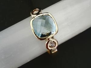 14k yellow Gold Aquamarine and Diamond Ring 8mm Cushion Rose Cut Three Stone Ring Made to Order Alternative Engagement 8mm Rose cut aquamarine