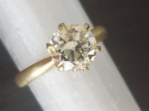14k Yellow Gold Moissanite Ring, OEC 8mm round Vintage Inspired Engagement Ring, Conflict Free, Ready to ship size 7