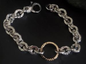 Sterling silver 14kt gold chain link bracelet, handmade, silver link bracelet, personalized,