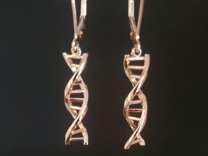 DNA double helix 14k Rose gold chandelier earrings lever backs, 14k Rose Gold DNA Earrings, Dangle Earrings