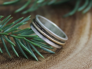 Sterling Silver and 14k Yellow Gold Band - Two Tone 5.5mm Band Ring - Wedding Band - Oxidized Band Ring - Stacking Ring - Ready to Ship SZ 7