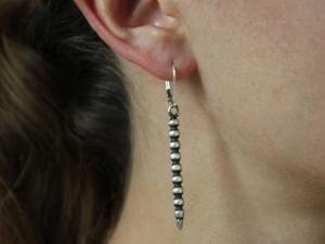 Brushed Oxidized Sterling Silver Earrings, Dagger Earrings, Long Bar Earrings, One of a Kind, Fish Hook, Long Bar, Ready to Ship Earrings