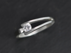 Tension Set 4mm Moissanite in Sterling Silver Ring, Modern Bride, Diamond Alternative, Minimalist, Ready to Ship Size 6.5