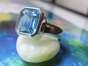 8mm x 10mm Sterling Silver Bezel Set Blue Topaz Ring - Octagon Emerald Cut - Ready to Ship 7