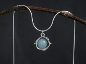 Aquamarine Pendant, Spinning Ball Pendant, Sterling Silver, Aquamarine Bead, Spinning Bead Pendant, March Birthstone, Ready to Ship Neckwear