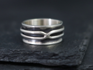 Double X Ring, 10mm Wide Band, Mens Ring, Mans Ring, Oxidized Silver Band, Industrial, Steampunk, Ready to Ship Size 7.75