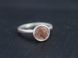 Copper Rutilated Quartz Sterling Silver Ring, Satellite Ring, Bezel Set Solitaire, Peekaboo, Alternative, Ready to Ship Size 7