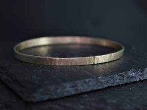 14k Rose Gold Hammered Bangle Bracelet, 5mm Wide Gold Cuff, Oval Shape Bangle Bracelet, Stacking Bangle