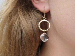 14kt yellow gold  hammered hoop earrings with lever backs and pure Quartz Briolette drop