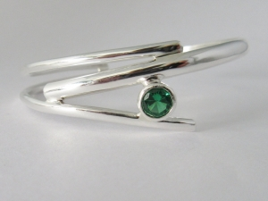 Sterling silver bracelet Synthetic Emerald May Birthstone handmade branches, twig bracelet