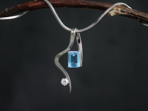 Emerald Cut Blue Topaz Pendant, 14k White Gold & Blue Topaz Pendant, Diamond Accent Pendant, One of a Kind, Made to order