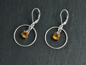 Citrine Dangle Earrings in Sterling Silver, Dangle Citrine Earrings, Circle Dangles, Leverback, November Birthstone, Ready to Ship Earrings