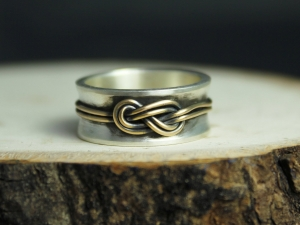 Infinity Love knot ring in sterling silver solid 14kt gold 8mm wide