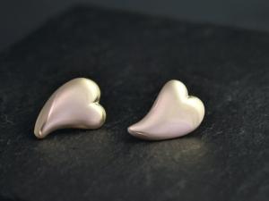 14k Yellow Gold Heart Stud Earrings, Minimalist Stud Earrings, Heart Studs, Abstract Heart Earrings, Solid 14k Gold, Ready to Ship Earrings