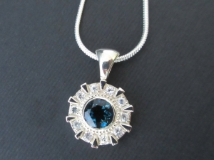 Iron Man Arc Reactor Inspired Pendant Ring With London Blue topaz Center, Sterling silver, white sapphire