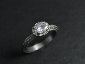 14k White Gold Moissanite Ring, Oval Vintage Inspired East to West Engagement Ring, Conflict Free, Forever One, 7x 5mm, Made to order