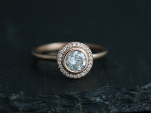 14k Rose Gold Moissanite Halo Ring, Engagement Ring, Modern Bride, Diamond Halo,  Solitaire with Accents,  Made to order