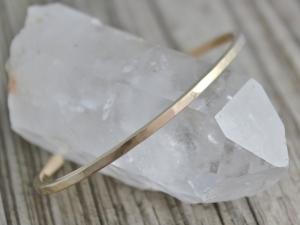 14k Yellow Gold Bracelet, Handmade Gold Bracelet, Cuff Bracelet, Thin Gold Cuff, Recycled Gold, Ready to Ship Bracelet