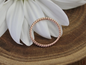 14k Rose Gold Rope Ring, Gold Stacking Ring, Stackable, Rope Texture, Twisted Gold Ring, Thin Gold Ring, Ready to Ship