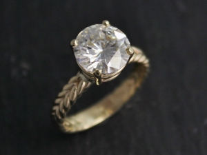 Ships today in your size 10mm Forever One Moissanite in 14k Yellow Gold, Braided Band, Prong Setting, Forever Moissanite, Engagement Ring,