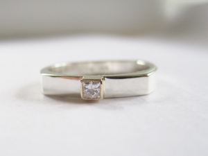 Sterling silver 14kt yellow gold princess cut  - Charles and Colvard Moissanite ring conflict free - stacking ring