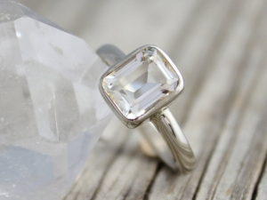 Emerald Cut White Topaz in 14k White Gold Ring, Emerald Cut White Topaz, Alternative Engagement Ring, Ready to Ship Gold Ring