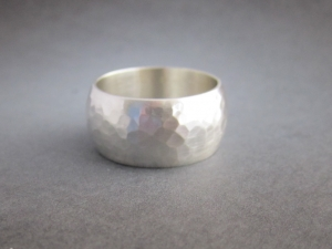 Hammered Sterling Silver Band Ring, 10mm Wide Band, Men's Ring, Unisex Ring, Wide Wedding Band