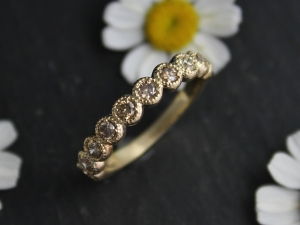 Champagne Diamond in 14k Yellow Gold, Ten Stone Band, Vintage Milgrain Texture, Anniversary Band, Wedding Band, Ready to Ship Size 6.75