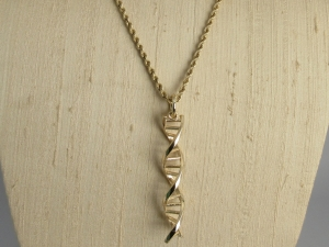 """DNA pendulum solid gold pendant gift for science large size 2"""" length 14k gold"""