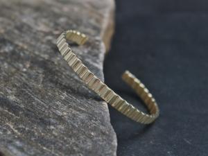 Solid 14k Yellow Gold Cuff Bracelet, Handmade Bracelet, Modern Cuff, Textured Gold Cuff, Corrugated Cuff, Ready to Ship Bracelet