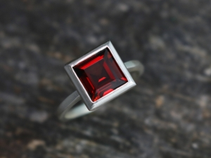 8mm Princess Cut Garnet Ring Sterling Silver, January Birthstone, Garnet Solitaire Ring, Huge Garnet, Recycled Silver, Ready to Ship Size 7