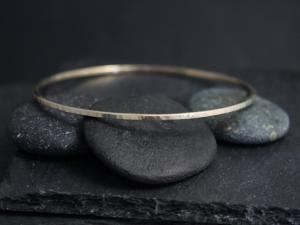 Hammered Yellow Gold Bangle Bracelet , Solid 14k Gold Bracelet, Handmade Bangle, Hammered Bangle, Ready to Ship Bracelet