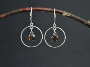 Cushion Cut Whiskey Quartz Dangle Earrings in Sterling Silver, Dangle Whiskey Quartz Earrings, Hoop Dangles, Ready to Ship Earrings