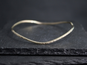 Hammered Yellow Gold Bangle Bracelet, Solid 14k Gold Bracelet, Free Form Organic Shape Bangle, Handmade Bangle, Ready to Ship Bracelet
