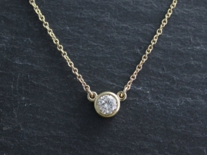 14k Yellow Gold Diamond Pendant Necklace, .29 Round Diamond, Bezel Set Diamond, Solitaire Necklace, Ready to Ship Neckwear