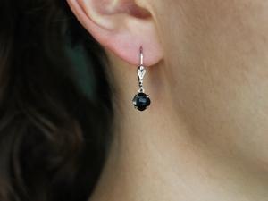 Black Onyx Dangle Earrings, Sterling silver Earrings, Cushion Cut Black Onyx, Leverback Earrings, Black Gemstone Earrings, Ready to Ship