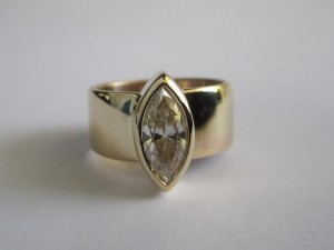 14kt yellow Gold Diamond Look  Moissanite Ring Marquise