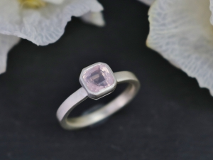 Asscher Cut Rose Quartz Ring, Sterling Silver Ring, Bezel Set, Soft Pink, Solitaire, Ready to Ship Size 7