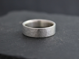Hammered Sterling Silver Comfort Fit Band, Flat 6mm Wide Band, Textured Silver Band, Ball Peen Hammer, Comfort Fit, Ready to Ship Size 8