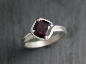 Cushion Cut Rhodolite Garnet Ring, Textured Sterling Silver Ring, Brushed and Hammered Ring, Double Shank Ring, Made to Order