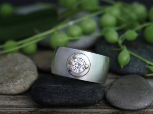 Sterling Silver 14k Yellow Gold Moissanite Ring - 8mm Domed Ring - 4mm Moissanite - Pebble Ring - Eco Friendly - Made to Order