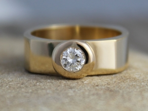18kt Yellow Gold Diamond Ring // Square Wedding Band // Engagement Ring // Button Ring // Eco Friendly // Made to order