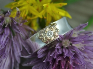 Sterling Silver and 14k Yellow Gold Diamond Ring // Eco-Friendly // Organic Ring // Ready to Ship Size 6 and 7