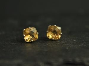 Citrine 14k White Gold Stud Earrings, 6mm Cushion Cut Citrine Earrings, November Birthstone Earrings, Ready to Ship Earrings