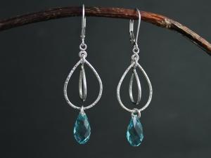 Blue Crystal Dangle Earrings in Sterling Silver, Blue Swarovski Crystal Element Briolette, Dangle Briolette Earrings, Ready to Ship Earrings