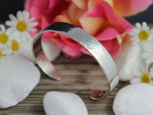 14k White Gold Hammered Cuff Bracelet - Recycled Gold - Hammered Gold - Eco Friendly - Made to Order
