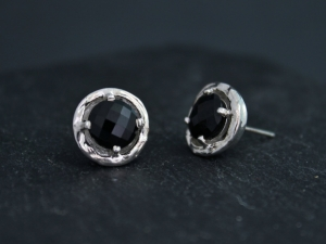 Black Onyx Sterling Silver Studs, Free Form Studs, 8mm Black Onyx, Silver Cups, 14k Gold Posts, Ready to Ship Earrings