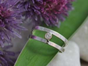 Sterling Silver and 14k Yellow Gold Diamond Ring, Two Tone Ring, Two Tone Diamond , Tube Set Eco-Friendly, salt and pepper diamond